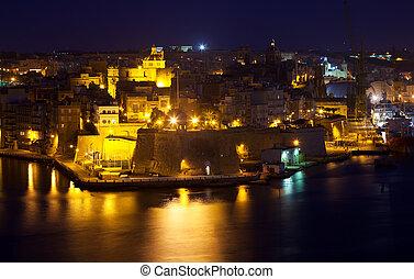night view of Senglea town from Valetta. Malta