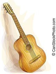 Guitar. Watercolor style.