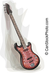 Bass electric Guitar. Watercolor style. Vector illustration.
