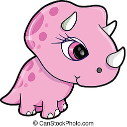 Cute Pink Triceratops Dinosaur Vector Illustration