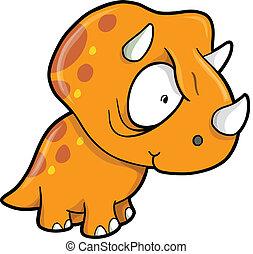 loco, naranja, Triceratops, Dinosaurio