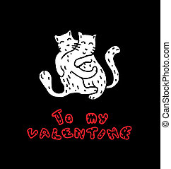 Hand Drawn Cats in Love - Hand drawn Illustratin with a cats...