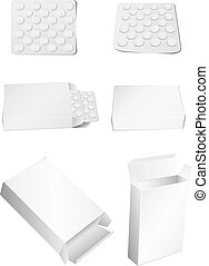 box and pills - Vector image of packing for tablets and...
