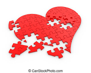 Breaked heart - Red puzzle ( jigsaw) pieces In the form of...