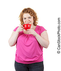 fat unsightly woman with cup