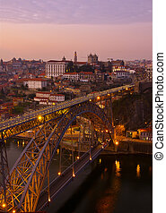 Porto at sunset, Portugal - bridge of Dom Luis I in old...