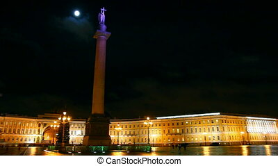 Palace Square in St. Petersburg, moonlit night - timelapse