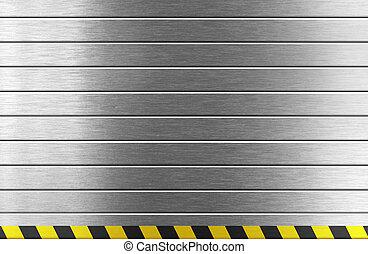 silver metal background with hazard stripes