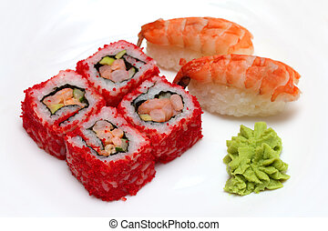 rolls and sushi on plate - Japanese cuisine - rolls and...