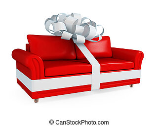 Red leather sofa wrapped with a white ribbon. Big SALE...