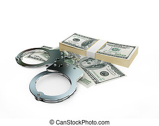 Handcuff and dollars pack isolated on white background. 3d...