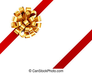 Golden ribbon with red bow. Isolated on white background. 3d...
