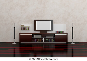 LCD TV with empty white screen, shelves, acoustic system and...