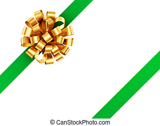 Golden bow with green ribbon.