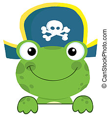 Frog With Pirate Hat - Cute Frog With Pirate Hat Over A Sign...