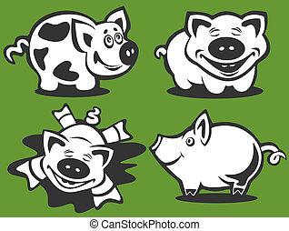 four cartoon piggies - Four cartoon happy piggies...