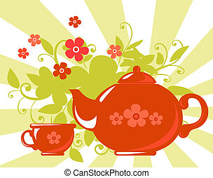 herbal tea - Stylized tea cup and teapot with flowers on a...