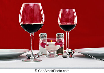 Red wine table setting horizontal