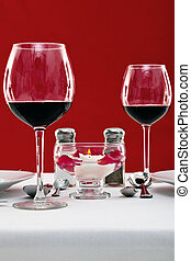 Red wine table setting