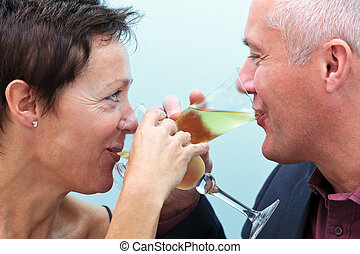 coppia,  champagne, bere