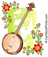 banjo, flores