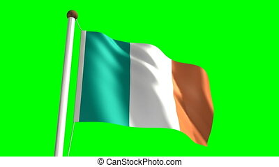 Ireland flag Loop and green screen - 3D Ireland flag video...