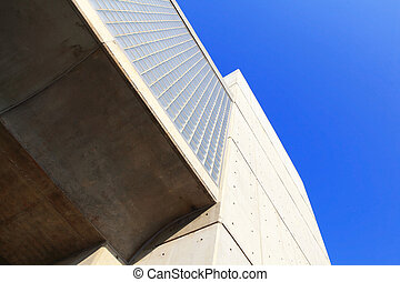 Concrete modern building with blue sky