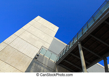 Concrete modern building with blue sky shot in taiwan,...