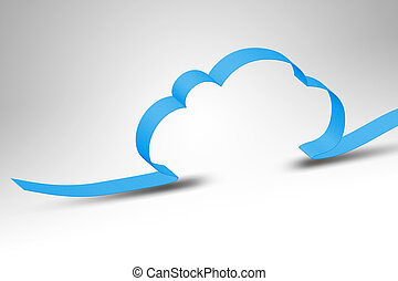 cloud computing - A blue ribbon making a cloud computing...