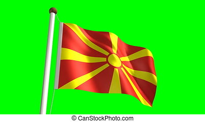Macedonia flag Loop and green screen - 3D Macedonia flag...
