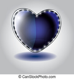 blue heart shaped glass button vector illustration on...