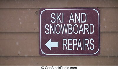 Ski and Snowboard repairs sign - Three shots of a Ski Resort...