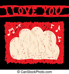 Card of Valentine day - Illustratin with a card of Valentine...