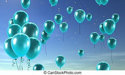 green balloon in the sky background