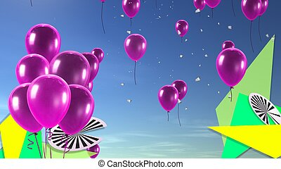 pink balloon in the sky background