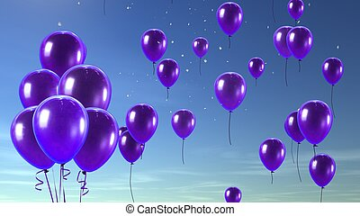 purple balloon in the sky background