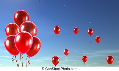 red balloon in the sky background