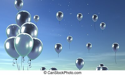 silver balloon in the sky background