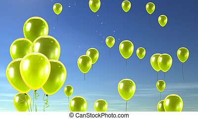 yellow balloon in the sky background