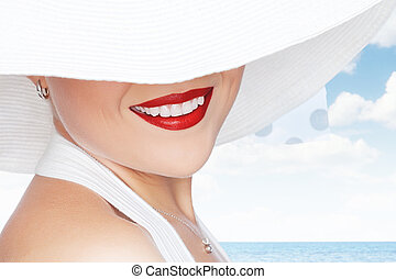 smile - portrait of young beautiful woman in white  hat