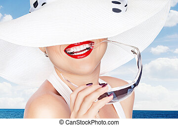 summer - portrait of young beautiful woman in white  hat