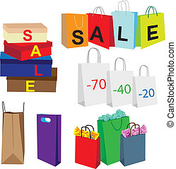 packets symbolize purchase - representing a set of different...