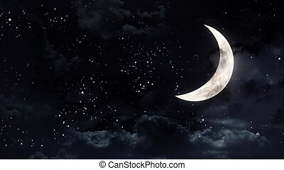half moon in the night sky - the beauty moon in the night...