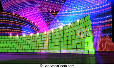 The disco stage set green