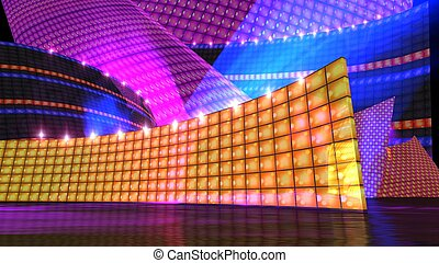 The disco stage set orange - The disco stage background for...