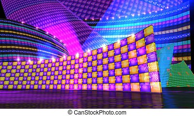The disco stage set checker c - The disco stage background...