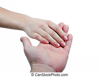 Man holding womans hand isolated white background