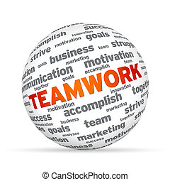 Teamwork Sphere - Spehere with the word Teamwork on white...