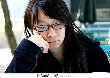 pensando, menina, Asiático
