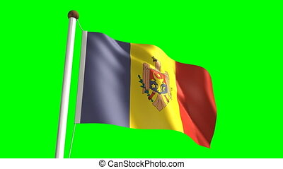 Moldova flag (Loop & green screen) - 3D Moldova flag video...